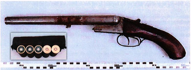 Hagelgeväret som mannen ertappades med. Polisen