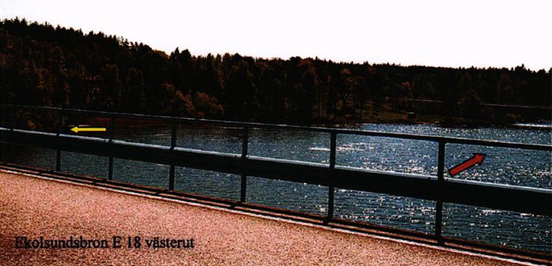Ekolsundsbron där kroppen hittades 2002, markerad med gul pil. © Polisen